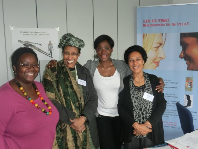 From left to right: Kekeli Ablavi Kpognon (FORWARD), Zahra Siad Naleie (FSAN), Gwladys Awo (Plan International), Fana Habeteab (RISK).  Picture: ©TERRE DES FEMMES